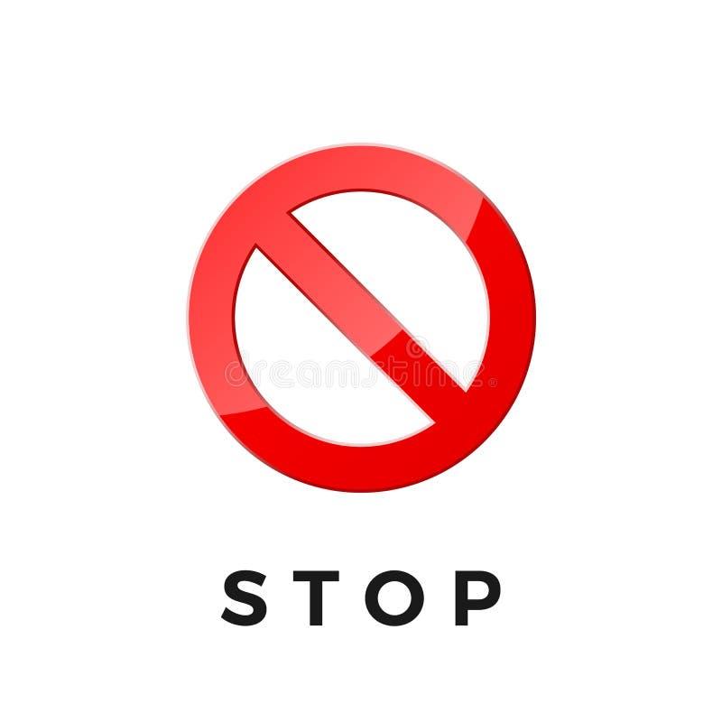 Icône d'arrêt pour le Web et l'appli Pictogramme d'autocollant d'interdiction Cercle croisé rouge Illustration de vecteur d'isole illustration stock