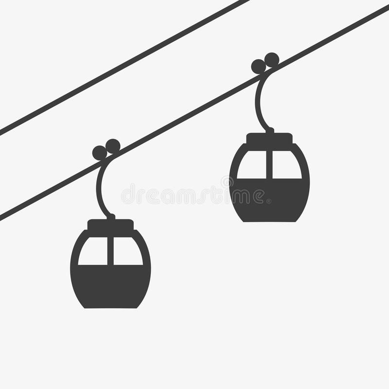 Icône d'ascenseur de câble de ski pour le ski et les sports d'hiver illustration stock