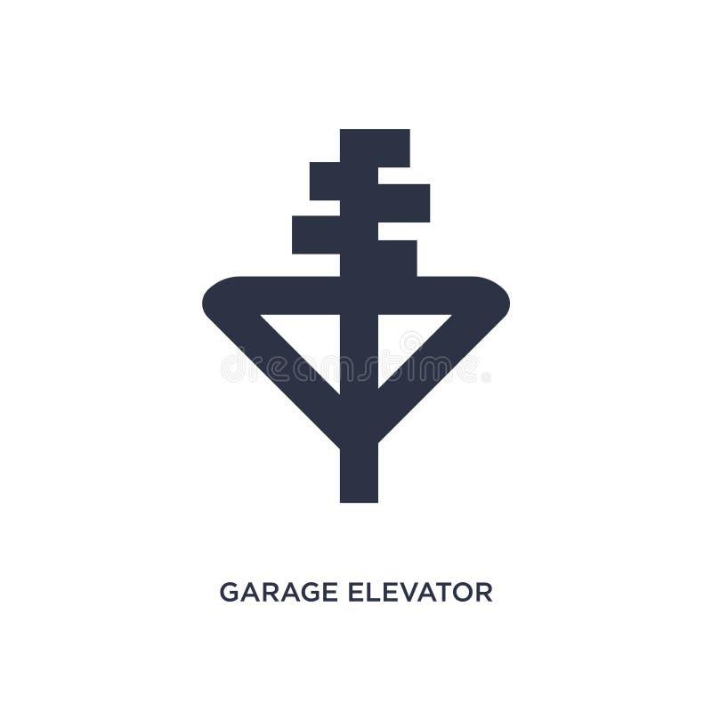 icône d'ascenseur de garage sur le fond blanc Illustration simple d'élément de concept de mechanicons illustration stock