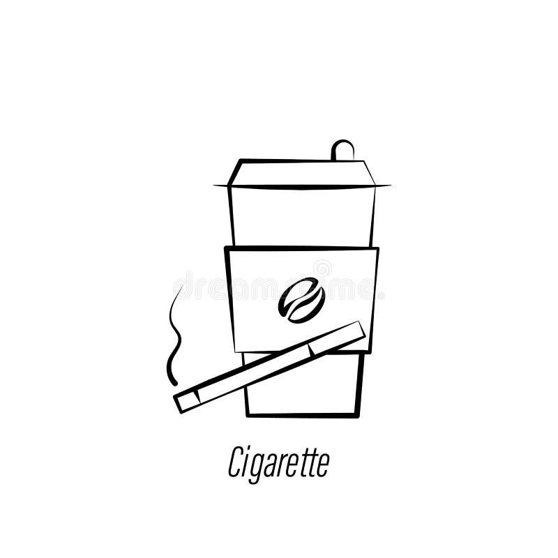 Ic?ne d'aspiration de main de caf? et de cigarette ?l?ment d'ic?ne d'illustration de caf? Des signes et les symboles peuvent ?tre illustration stock