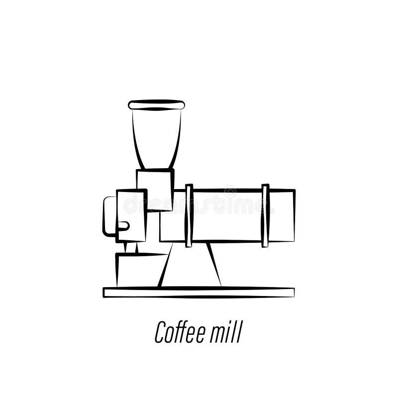 Ic?ne d'aspiration de main de moulin ? caf? ?l?ment d'ic?ne d'illustration de caf? Des signes et les symboles peuvent ?tre employ illustration de vecteur