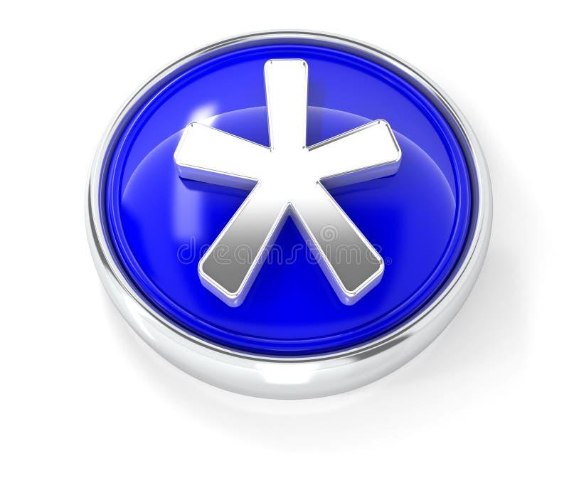 Icône d'astérisque sur le bouton rond bleu brillant illustration libre de droits