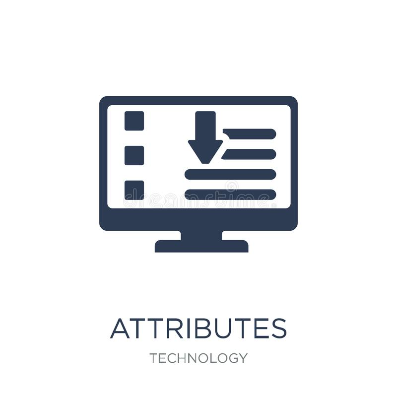 Icône d'attributs Le vecteur plat à la mode attribue l'icône sur le CCB blanc illustration de vecteur