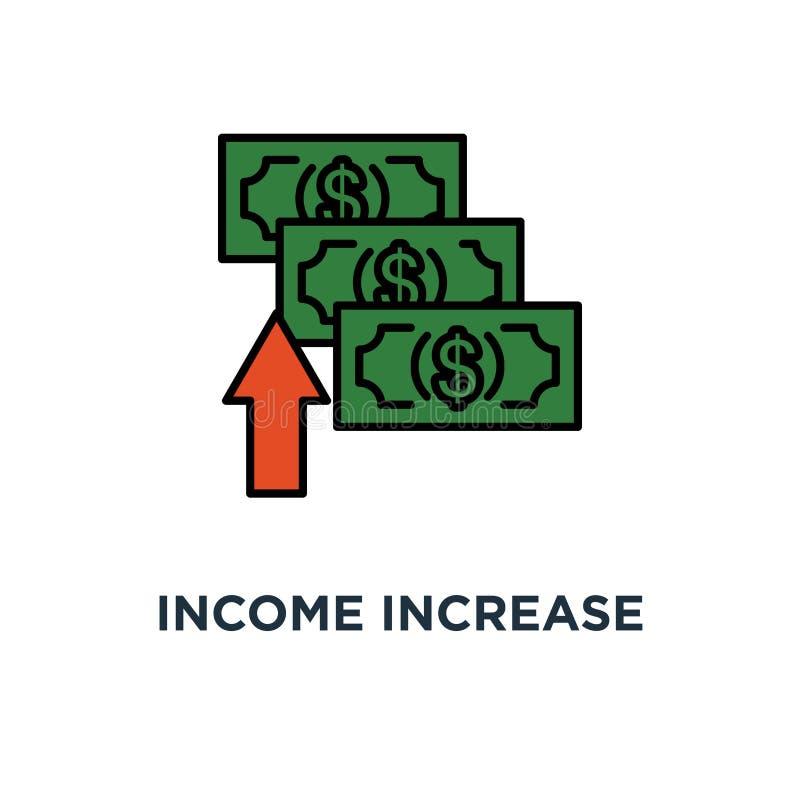 icône d'augmentation de revenu stratégie financière, croissance de revenu, taux d'intérêt, conception de symbole de concept d'aco illustration de vecteur