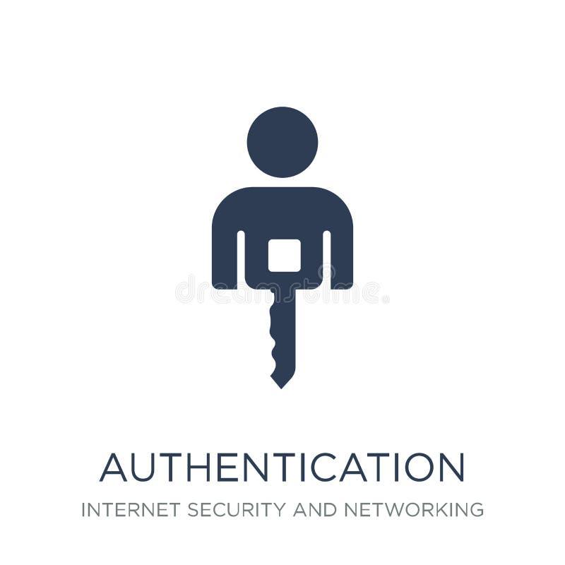 Icône d'authentification Icône plate à la mode d'authentification de vecteur sur W illustration libre de droits