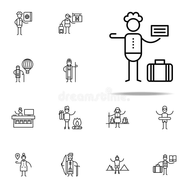 Icône d'auto-stoppeur Ensemble universel d'icônes de voyage pour le Web et le mobile illustration stock