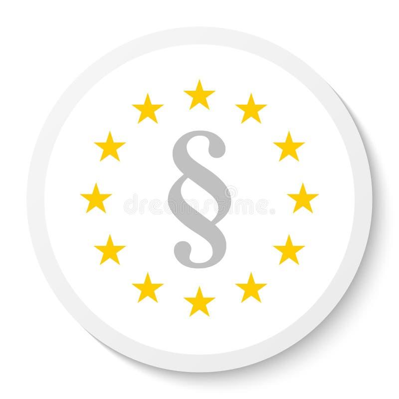 Icône d'autocollant de cercle avec la guirlande de l'UE et d'une marque de paragraphe, symbole de loi illustration libre de droits