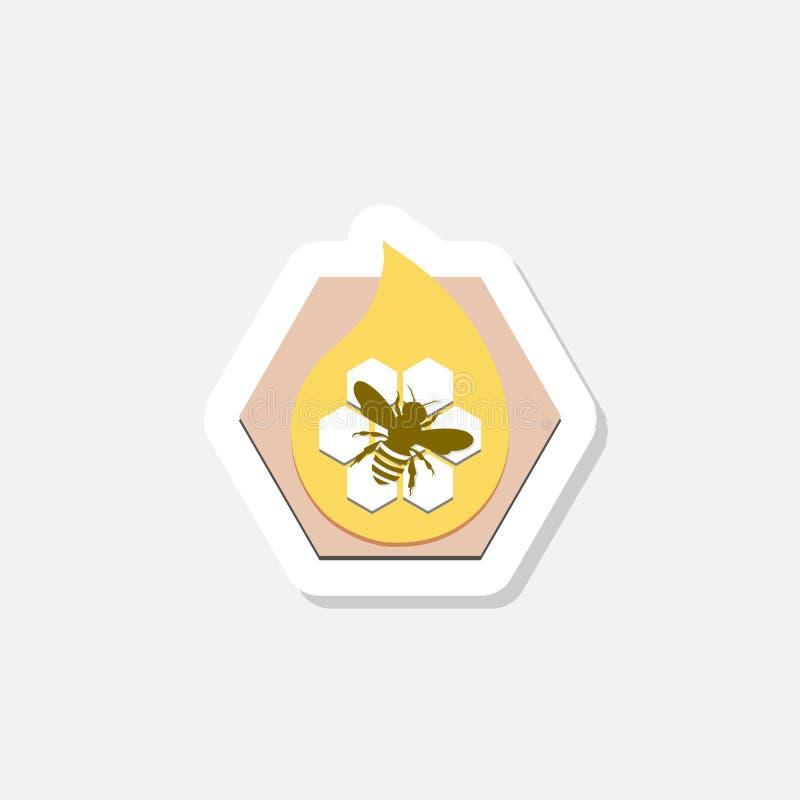 Icône d'autocollant de peigne de miel avec l'abeille illustration de vecteur