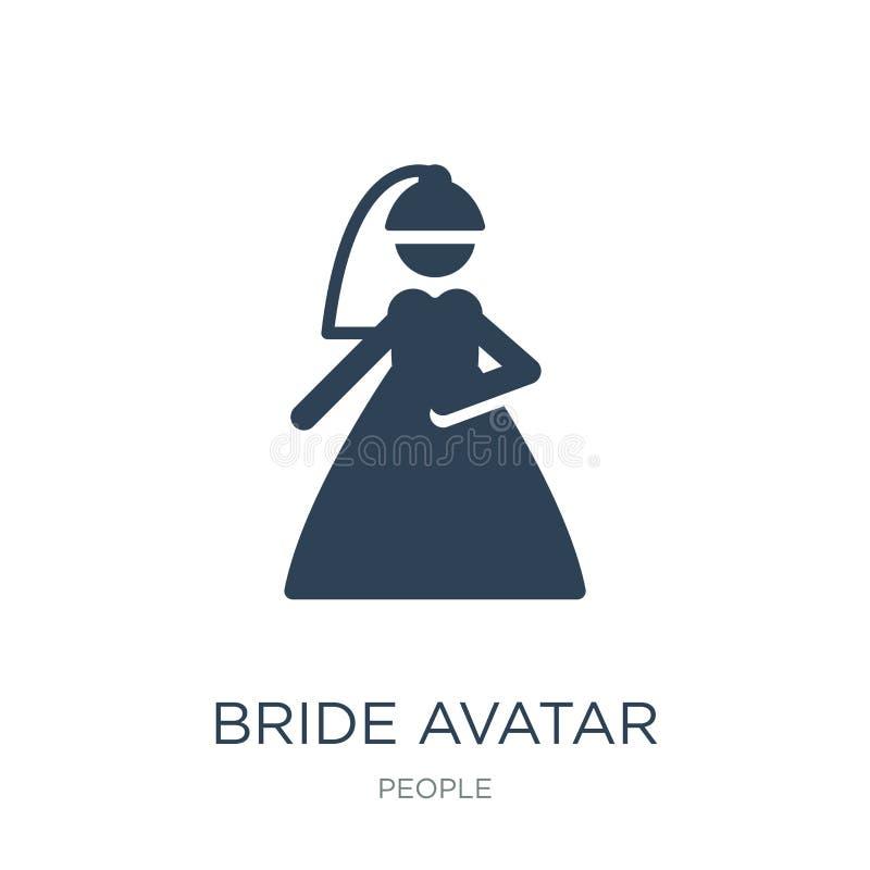 icône d'avatar de jeune mariée dans le style à la mode de conception icône d'avatar de jeune mariée d'isolement sur le fond blanc illustration libre de droits