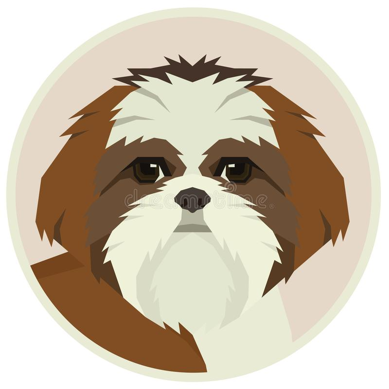 Icône d'avatar de style de Shih Tzu Geometric de collection de chien ronde illustration de vecteur