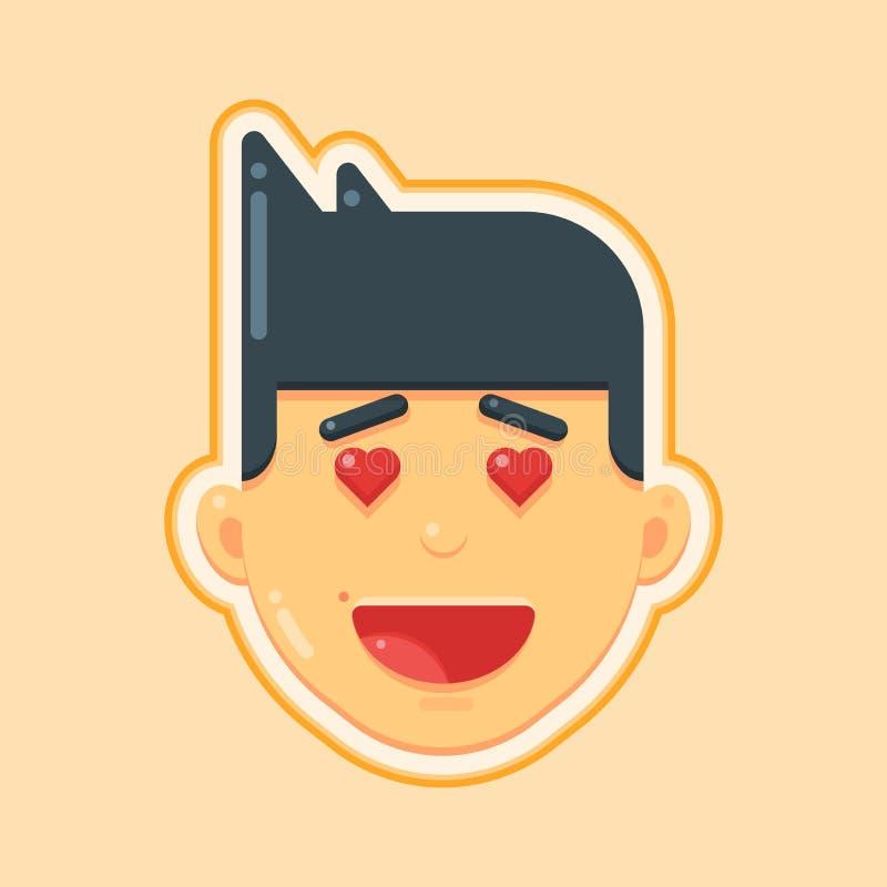 Icône d'avatar d'illustration de vecteur d'homme de visage de coeur d'amour illustration de vecteur