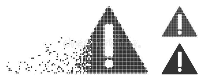 Icône d'avertissement tramée de pixel mobile illustration de vecteur