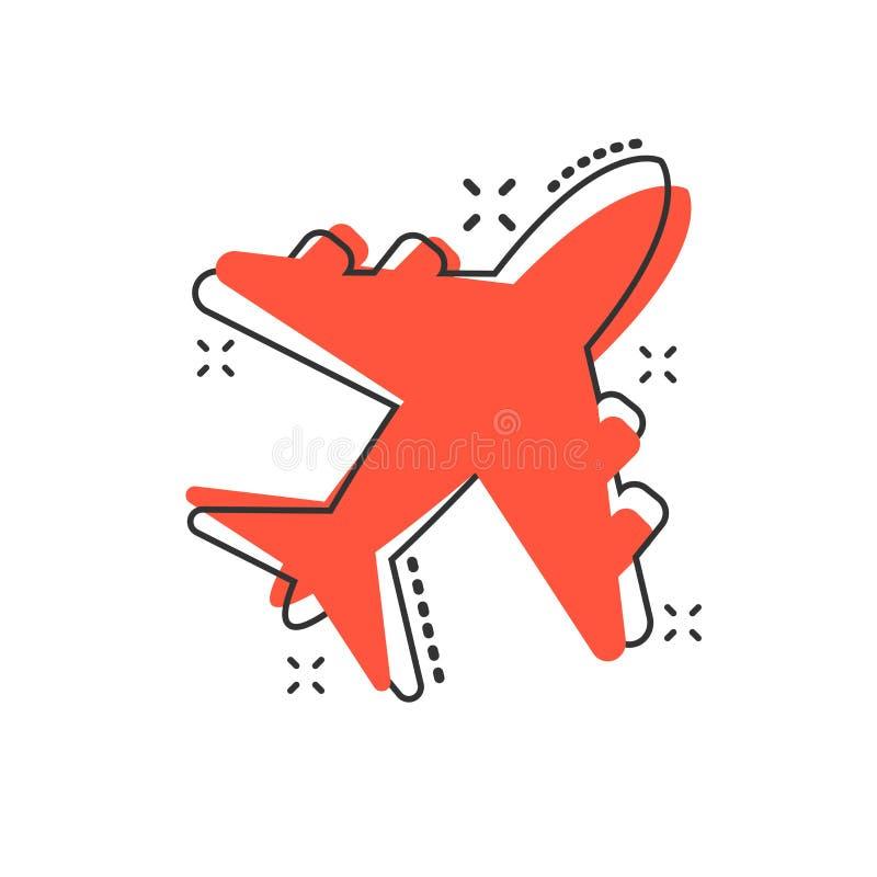 Icône d'avion de bande dessinée de vecteur dans le style comique Signe plat d'aéroport illustration de vecteur