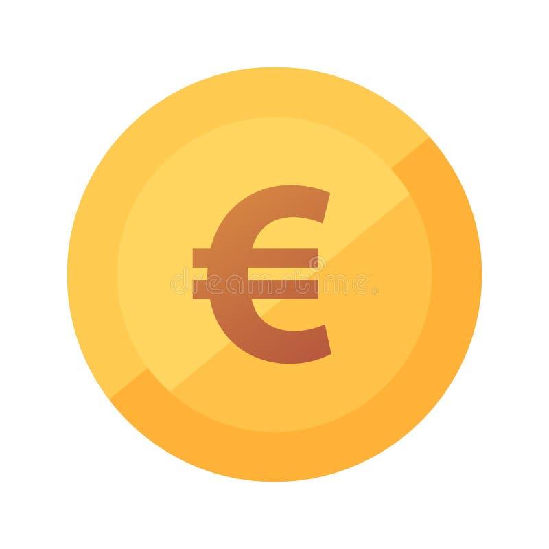 Icône d'or de vecteur plat avec la lueur de l'euro pièce de monnaie d'isolement sur le fond blanc illustration stock