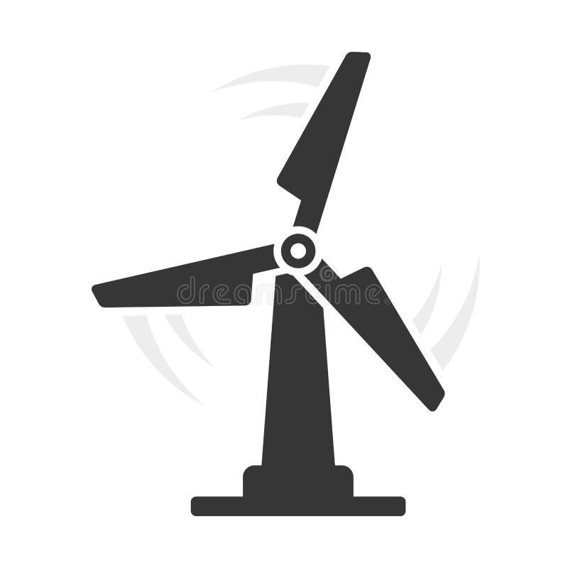 Ic?ne d'Eco de moulin ? vent sur le fond blanc Vecteur illustration stock