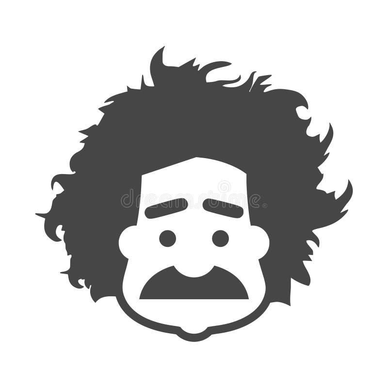 Icône d'Einstein, professeur, logo de scientifique illustration libre de droits