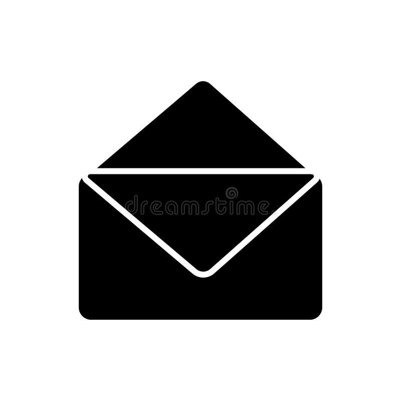 Icône d'email de Glyph L'illustration simple de graphique de vecteur de symbole d'email a isolé illustration stock
