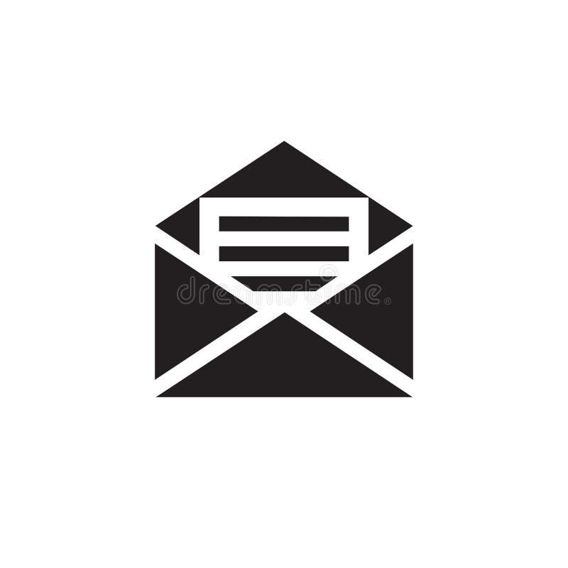 Icône d'email sur l'illustration blanche de vecteur de fond Enveloppe avec le signe de concept de document Symbole créatif de let illustration libre de droits