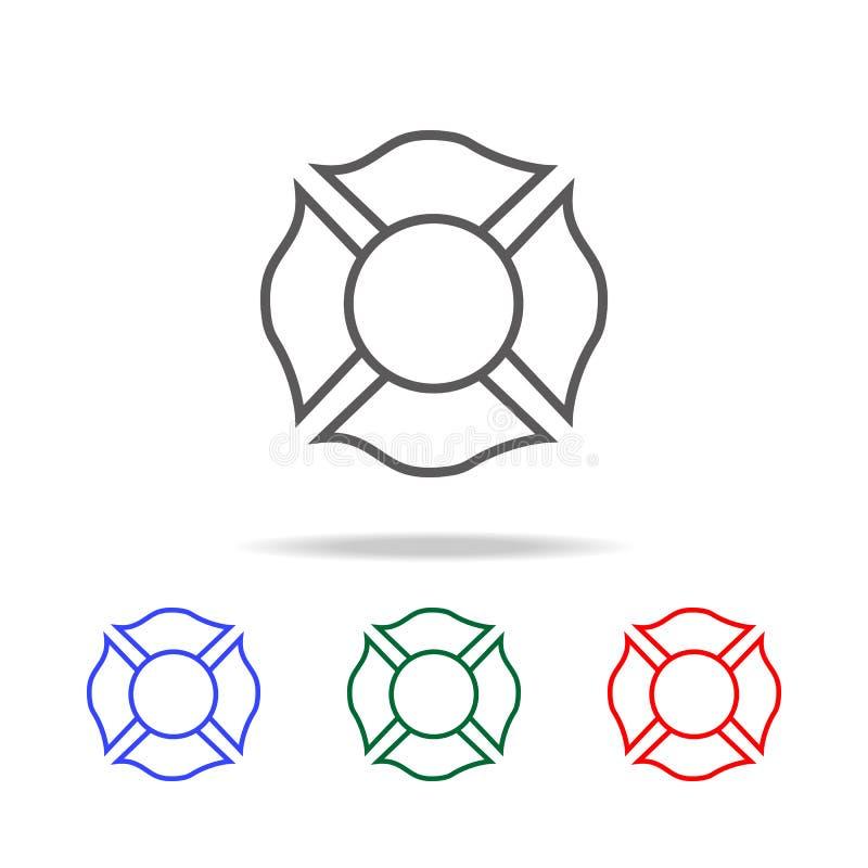 icône d'emblème de sapeur-pompier Éléments des icônes colorées multi de sapeur-pompier Icône de la meilleure qualité de conceptio illustration stock