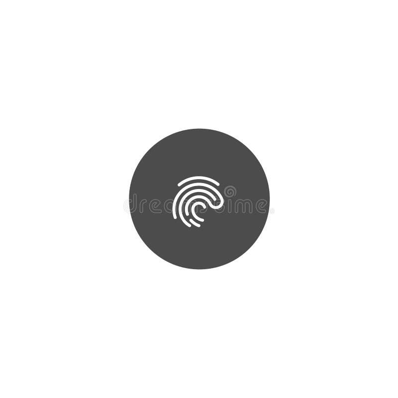 Icône d'empreinte digitale sur le fond foncé de cercle vecteur de symbole illustration de vecteur