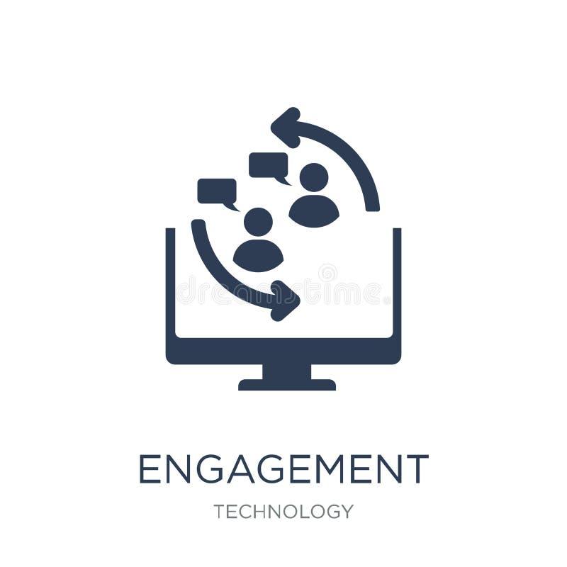 Icône d'engagement Icône plate à la mode d'engagement de vecteur sur le CCB blanc illustration libre de droits