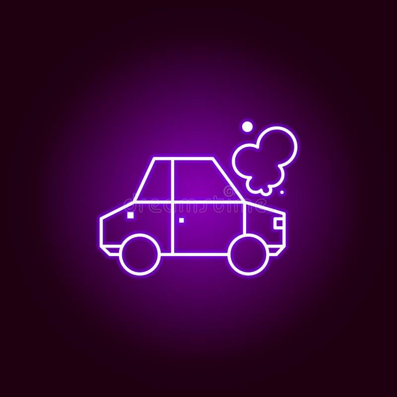 icône d'ensemble d'accident de voiture dans le style au néon Éléments d'illustration de réparation de voiture dans l'icône au néo illustration stock