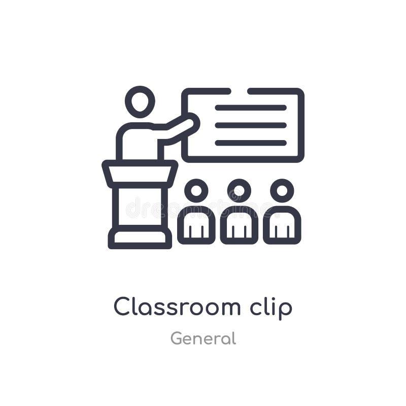 icône d'ensemble d'agrafe de salle de classe ligne d'isolement illustration de vecteur de la collection g?n?rale icône mince edit illustration stock