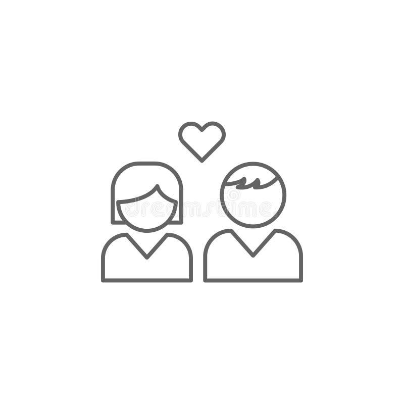 icône d'ensemble d'amitié de fille de garçon Éléments de ligne icône d'amitié Des signes, les symboles et les vecteurs peuvent êt illustration libre de droits