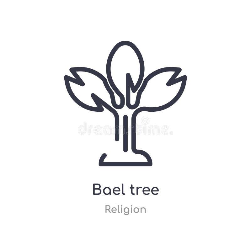 icône d'ensemble d'arbre de bael ligne d'isolement illustration de vecteur de collection de religion icône mince editable d'arbre illustration libre de droits
