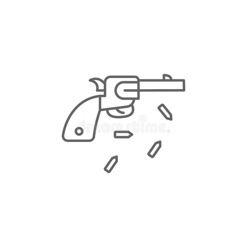 icône d'ensemble d'arme à feu de pistolet de revolver Éléments d'icône d'illustration de Jour de la Déclaration d'Indépendance De illustration stock