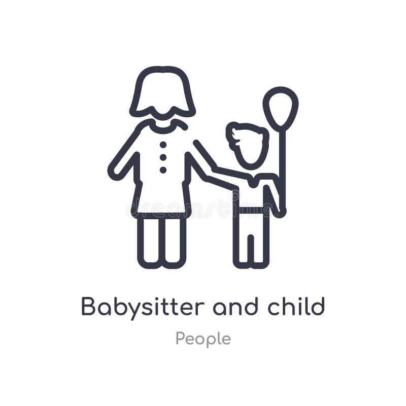 icône d'ensemble de babysitter et d'enfant ligne d'isolement illustration de vecteur de collection de personnes babysitter mince  illustration libre de droits