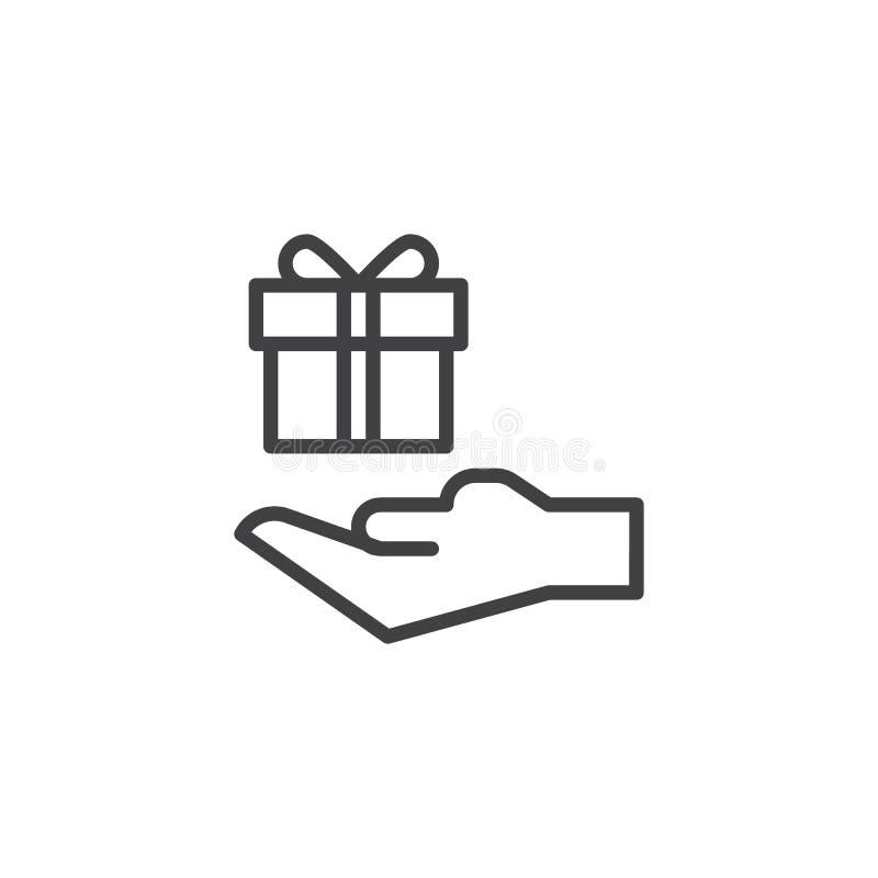 Icône d'ensemble de boîte-cadeau de prise de main illustration de vecteur