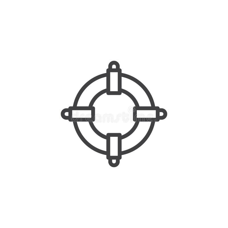 Icône d'ensemble de bouée de sauvetage illustration stock