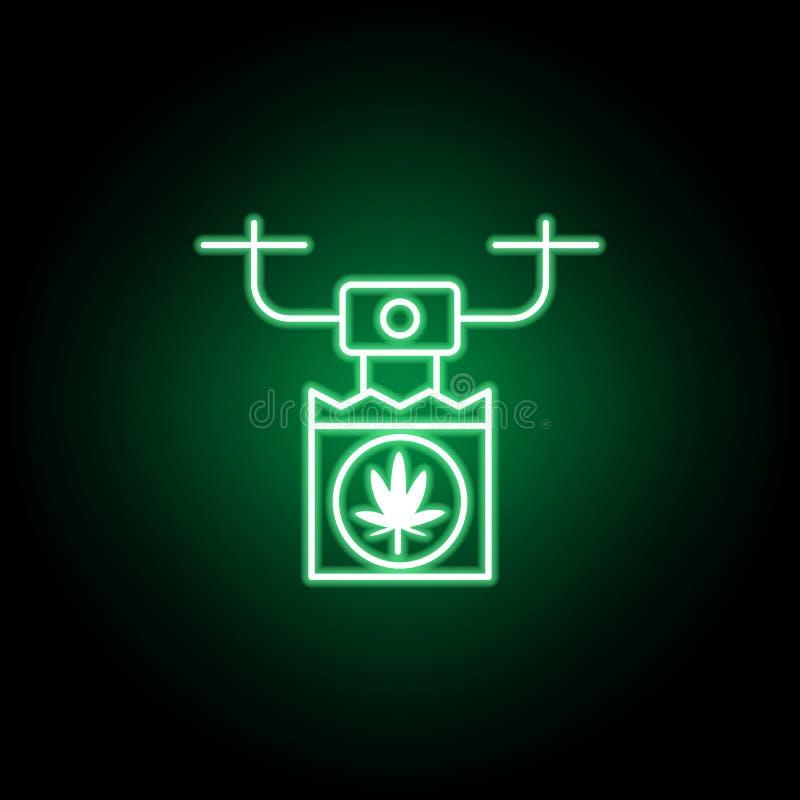 Icône d'ensemble de bourdon de marijuana dans le style au néon Peut ?tre employ? pour le Web, logo, l'appli mobile, UI, UX illustration libre de droits