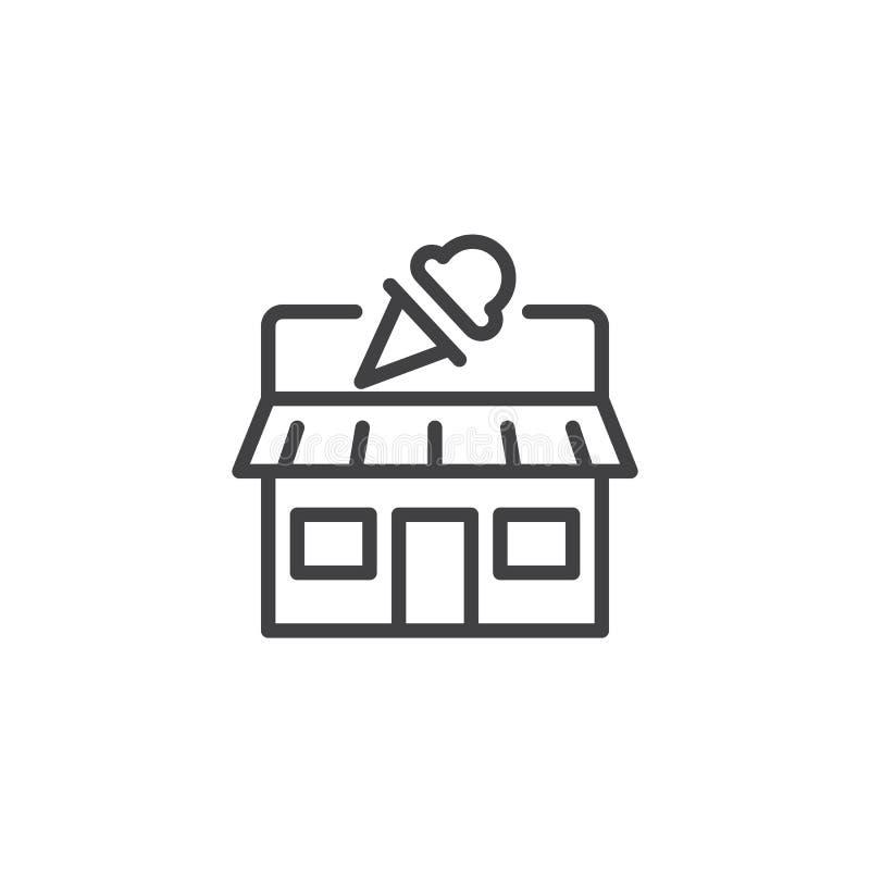 Icône d'ensemble de boutique de crème glacée  illustration de vecteur