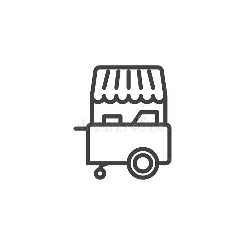 Icône d'ensemble de boutique de stalle de crème glacée  illustration de vecteur