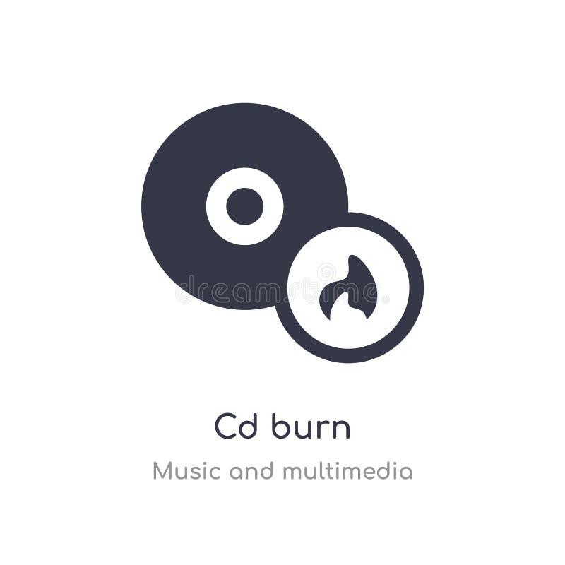 icône d'ensemble de brûlure de Cd ligne d'isolement illustration de vecteur de la musique et de la collection de multim?dia icône illustration stock