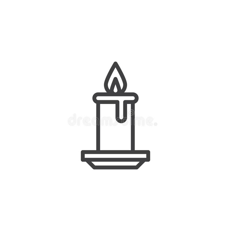 Icône d'ensemble de brûlure de lumière de bougie illustration stock