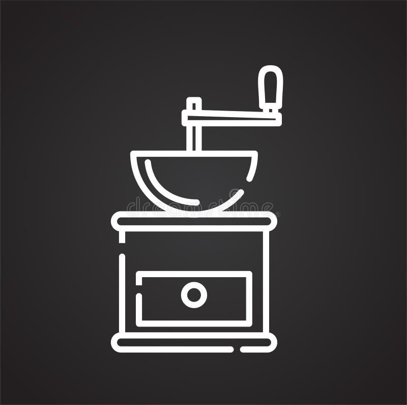 Icône d'ensemble de broyeur de café sur le fond noir pour le graphique et la conception web, signe simple moderne de vecteur Inte illustration de vecteur