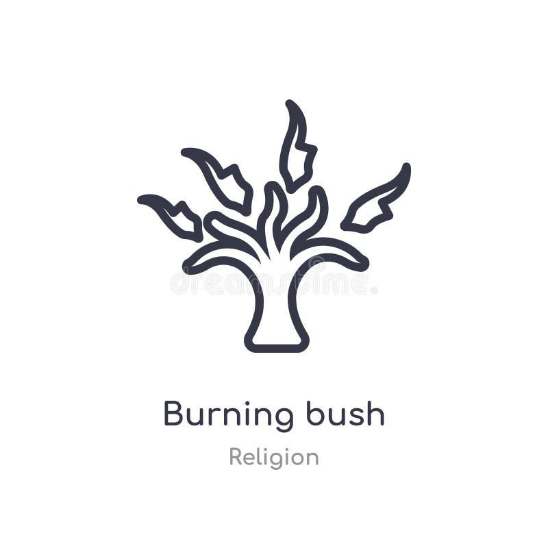 icône d'ensemble de buisson de combustion ligne d'isolement illustration de vecteur de collection de religion icône mince editabl illustration libre de droits