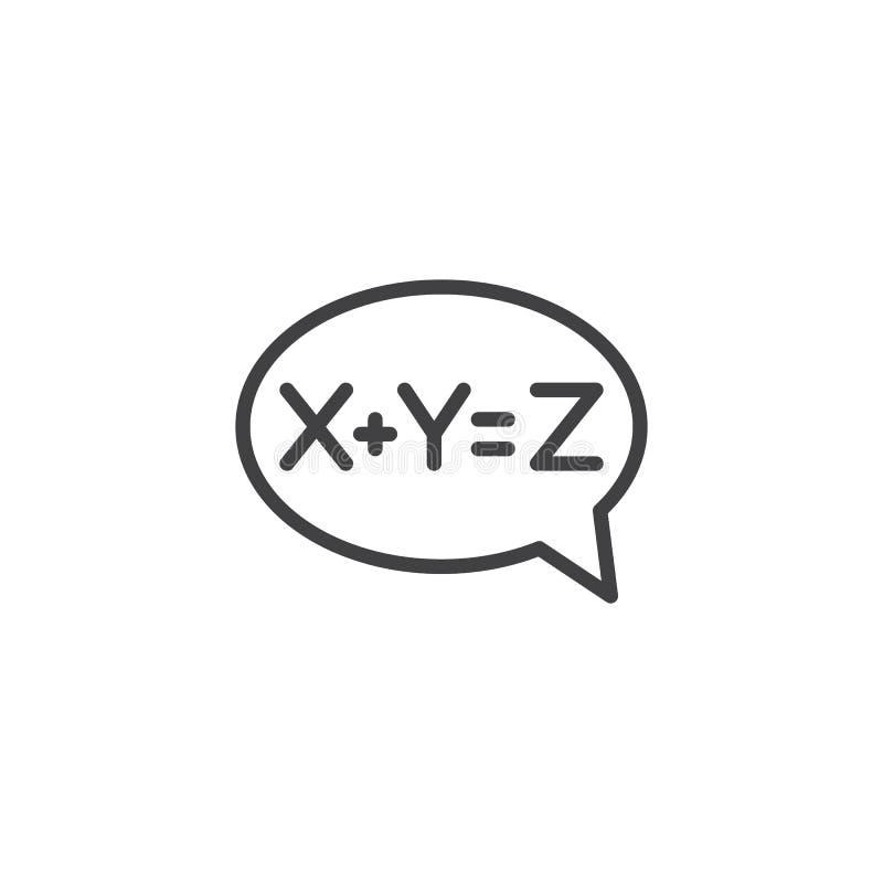 Icône d'ensemble de bulle de solution d'équation illustration stock