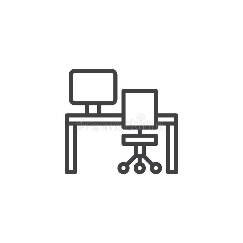 Icône d'ensemble de bureau, d'ordinateur et de meubles de chaise illustration de vecteur