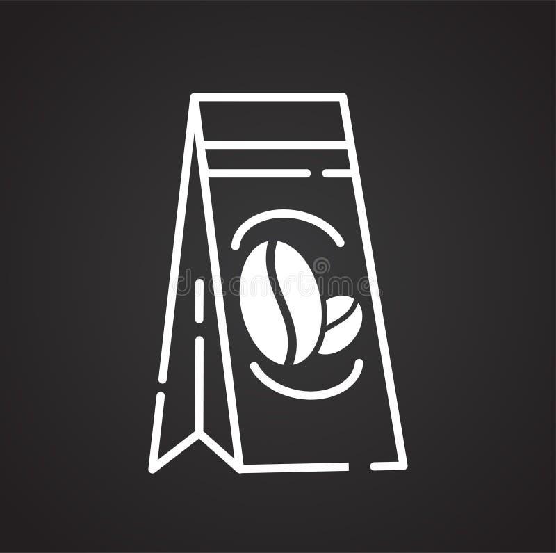 Icône d'ensemble de café sur le fond noir pour le graphique et la conception web, signe simple moderne de vecteur Internet bleu d illustration stock