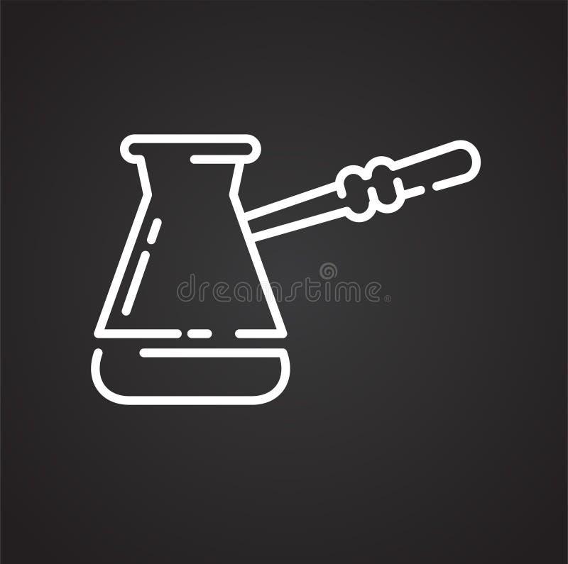 Icône d'ensemble de café turc sur le fond noir pour le graphique et la conception web, signe simple moderne de vecteur Internet b illustration stock