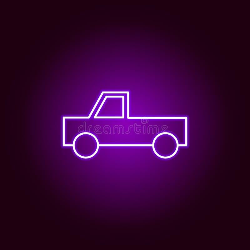 icône d'ensemble de camion de sélection dans le style au néon Éléments d'illustration de réparation de voiture dans l'icône au né illustration stock
