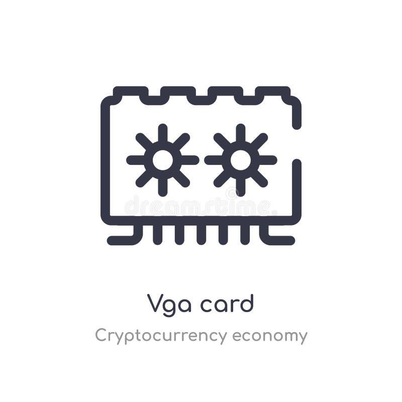 icône d'ensemble de carte du VGA ligne d'isolement illustration de vecteur de collection d'?conomie de cryptocurrency carte mince illustration stock