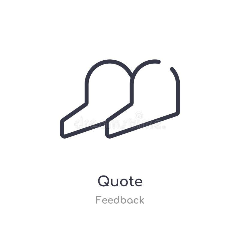 icône d'ensemble de citation ligne d'isolement illustration de vecteur de collection de retour icône mince editable de citation d illustration de vecteur