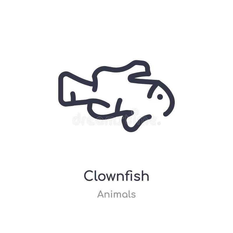 icône d'ensemble de clownfish ligne d'isolement illustration de vecteur de collection d'animaux icône mince editable de clownfish illustration libre de droits