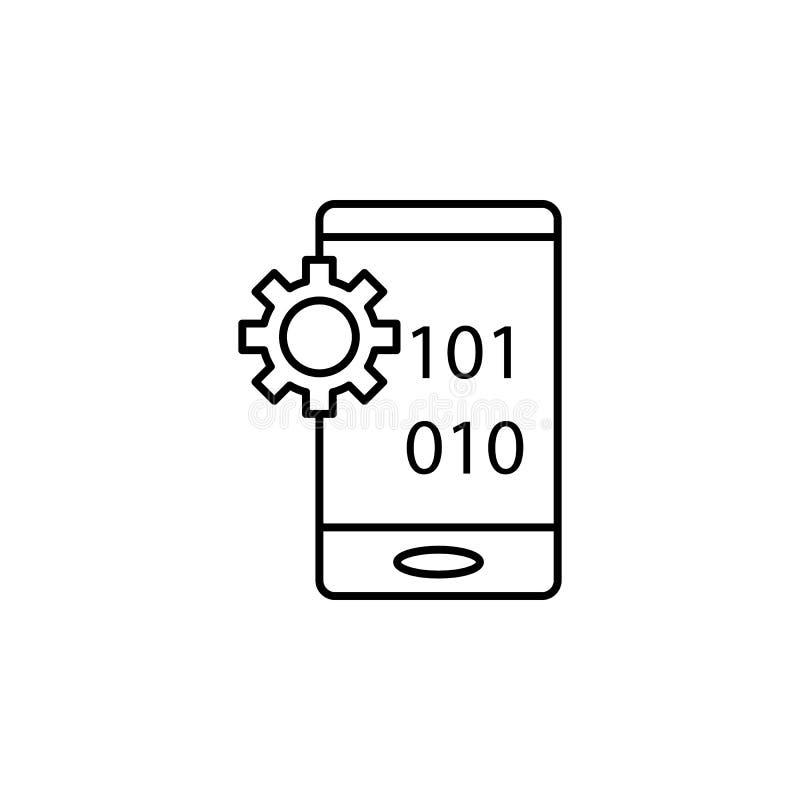 Icône d'ensemble de code binaire de robotique Des signes et les symboles peuvent être employés pour le Web, logo, l'appli mobile, illustration libre de droits