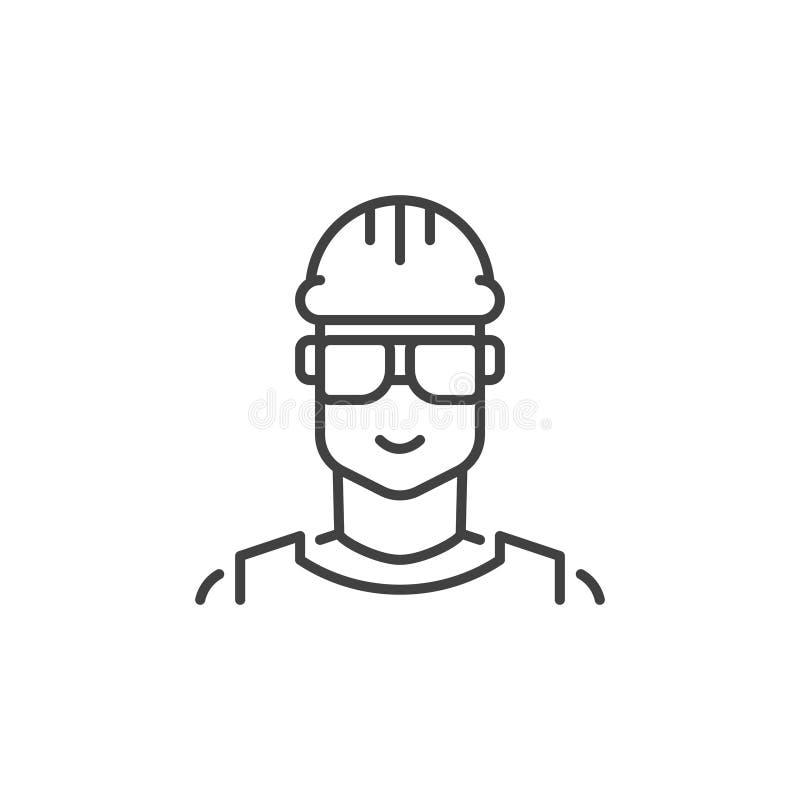 Icône d'ensemble de concept de vecteur de constructeur Symbole masculin de travailleur illustration libre de droits